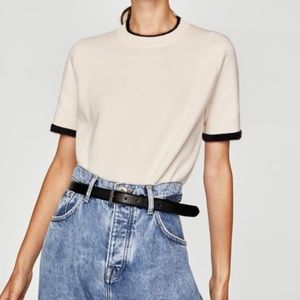 Zara Knit | Short Sleeve Sweater | Cream/Black